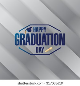happy graduation day silver stamp card illustration design graphic