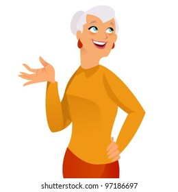Happy grand mother on white background