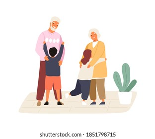 Happy grandchildren meeting and hugging grandmother and grandfather. Cute family scene. Kids visiting grandparents. Flat vector cartoon illustration isolated on white background
