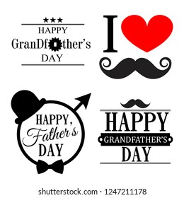Happy grandfather's day. Four greeting card with moustache, decor elements and lettering. Happy father's day.