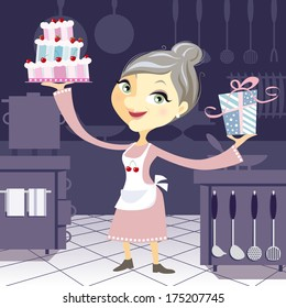 Happy grandmother in the kitchen holding a fancy birthday cake and a present. Cartoon character on blue background.