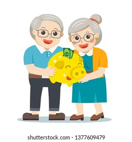Happy Grandpa and grandma standing together with gold piggy bank. Two old persons man and woman of retirees. Grandparents celebrating financial success.