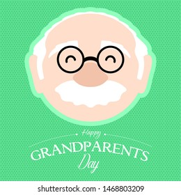 Happy grandpa on a textured card. Grandparents day - Vector