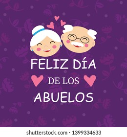 Happy Grandparent Day in Spanish, vector illustration. Design for grandmother, grandfather Day. Can be used as a greeting card, flyer, poster, banner, for print, T-shirt. Eps10