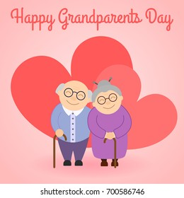Happy grandparents before hearts . Grandparent's day. Elderly people. Vector illustration with text.