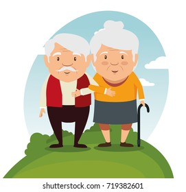 happy grandparents cartoon