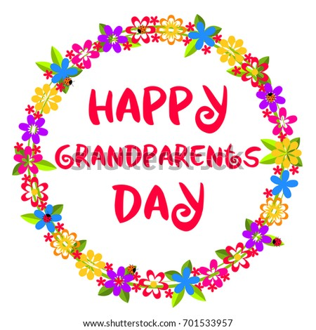 Happy Grandparents Day Card Congratulation Decorative Stock Vector