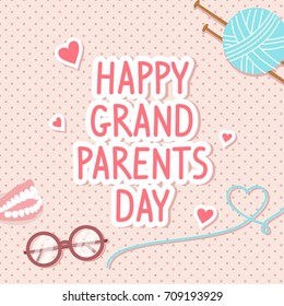 Happy Grandparents Day Card Vector illustration. Glasses, yarn ball and denture on pink polka dot pattern background.