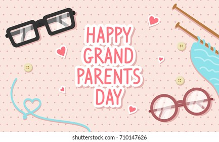 Happy Grandparents Day Card Vector illustration. Glasses and knitting on pink polka dot pattern background.
