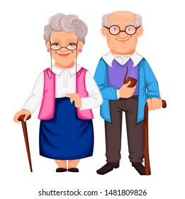 Happy Grandparents Day. Cheerful grandfather and grandmother cartoon characters. Vector illustration on white background