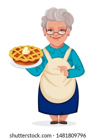Happy Grandparents Day. Cheerful grandmother cartoon character holding a delicious pumpkin cake. Vector illustration.
