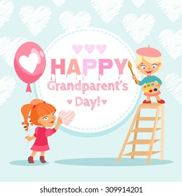 Happy grandparent's day design concept with cute cartoon children celebrating this holiday. Vector illustration