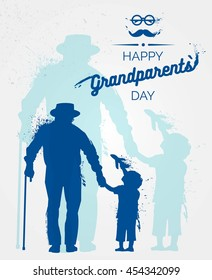 Happy Grandparents Day flyer, banner or poster, silhouette of a grandfather holding his grandchild hand. Vector illustration