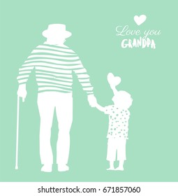 Happy Grandparents Day flyer, banner or poster, silhouette of a grandfather holding his grandson hand. Vector illustration
