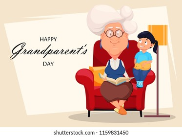 Happy grandparents day greeting card. Silver haired grandma sitting in armchair and reading a book to her granddaughter. Cartoon character. Vector illustration