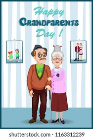 Happy grandparents day greeting card.   Cartoon vector characters of elderly couple holding hands. Granddad and grandmom in the room with their young and grandchildren photo on the wall.