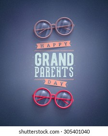 Happy Grandparents Day, greeting card, eps 10