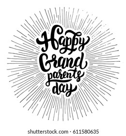 Happy Grandparents Day -  hand drawn lettering in sun rays vintage illustration