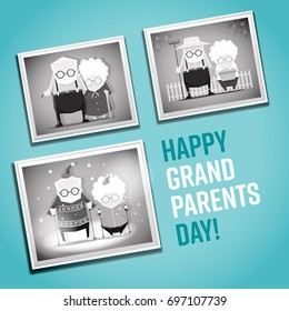 Happy Grandparents day illustration with old photos on the wall