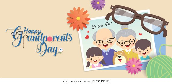 Happy Grandparent's Day. Photo of cute cartoon grandparents & grandchildren with dog. Photo frame with flowers, eyeglasses, yarn ball and greeting lettering. Vector illustration.