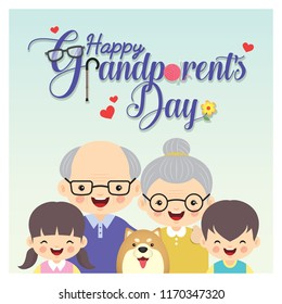 Happy Grandparent's Day. Photo of grandparents & grandchildren with dog and greeting lettering. Cute cartoon grandfather, grandmother, grandson and granddaughter vector illustration.