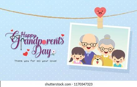 Happy Grandparent's Day. Photo of grandparents & grandchildren with dog and greeting lettering. Cute cartoon grandpa, grandma, grandson and granddaughter vector illustration.