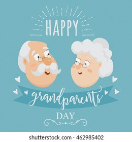 Happy grandparents day poster or greeting card with typographic elements. Vector illustration in cartoon style