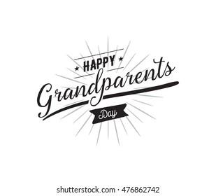 Happy Grandparents day typographic emblem, logo. Vector illustration. Design for greeting card, flyer, poster, banner or t-shirt.