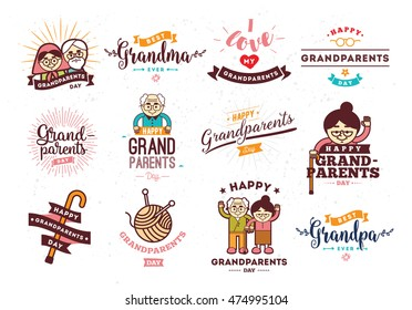 Happy Grandparents day typographic emblems, logo set. Grandma and grandpa vector illustration. Design for grandparents day greeting card, flyer, poster, banner or t-shirt. Older persons.