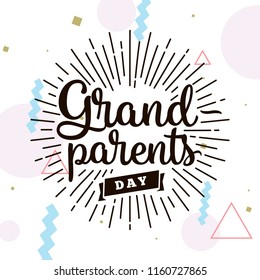 Happy Grandparents day. Typography. logo design. Usable for greeting card, flyer, poster, banner or t-shirt.