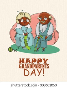 Happy grandparents day vector greeting card in doodle design. Happy couple African American retirees