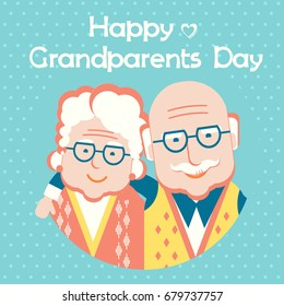 Happy Grandparents Day.Vector holiday card with portrait of old people