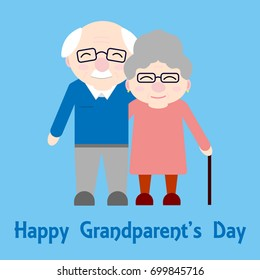Happy grandparents. Elderly people. Grandparent's day. Vector card with text on blue background.