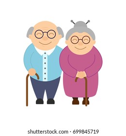Happy grandparents. Elderly people. Grandparent's day. Grandfather and grandmother. Vector card on white background.