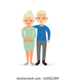 Happy grandparents. Grandma with cakes/biscuits. Vector images in cartoon style