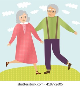 Happy grandparents. grandmother and grandfather. vector illustration