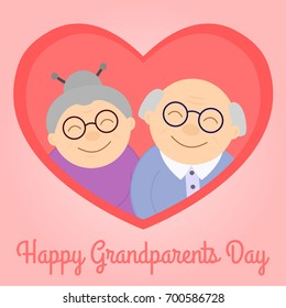 Happy grandparents in heart. Elderly people. Grandparent's day. Vector illustration with text.