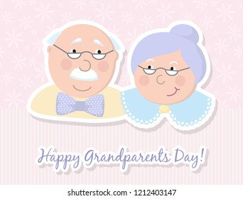 Happy grandparents. Vector cartoon illustration. Grandparents day. Elderly couple. Love.