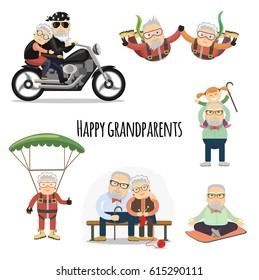Happy grandparents. Vector set of characters in a flat style.