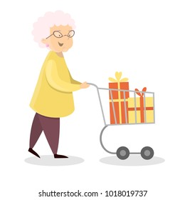 Happy granny shopping with cart and holiday gifts.