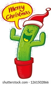 Happy green cactus in a pot wearing a Santa hat while wishing Merry Christmas. The naughty cactus, full of sharp spines, is clenching eyes and raising arms while showing the message in a speech bubble