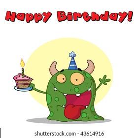 Happy green monster celebrates birthday with cake