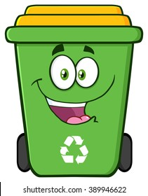 Happy Green Recycle Bin Cartoon Character. Vector Illustration Isolated On White Background