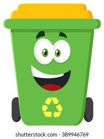 Happy Green Recycle Bin Cartoon Character Modern Flat Design. Vector Illustration Isolated On White Background