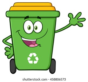 Happy Green Recycle Bin Cartoon Mascot Character Waving For Greeting. Vector Illustration Isolated On White Background