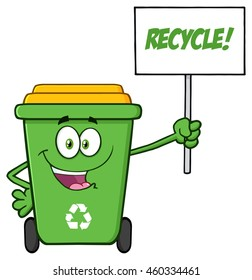 Happy Green Recycle Bin Cartoon Mascot Character Holding Up A Recycle Sign. Vector Illustration Isolated On White Background