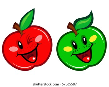 Happy Green & Red Apple