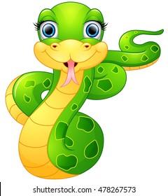 Happy green snake cartoon