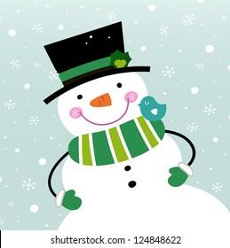 Happy green Snowman. Vector cartoon illustration