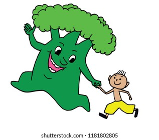 Happy green tree runs with a child